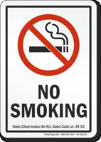 Idaho No Smoking Clean Indoor Air Act Sign