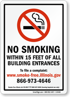 No Smoking Within 15 Feet Sign