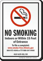 Illinois No Smoking Within 15 Feet Of Entrance Sign