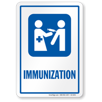 Immunization Hospital Vaccinations Sign with Injection Symbol