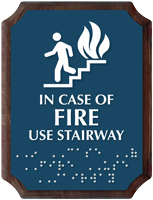 In Case of Fire Braille TactileTouch Wooden Plaque