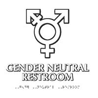 Gender Neutral Symbol Restroom Braille Sign