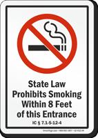 Indiana Prohibits Smoking Within 8 Feet Of Entrance Sign