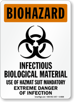 Infectious Biological Materials Extreme Danger Biohazard Sign