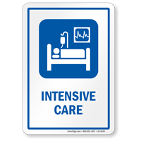 Intensive Care ICU Sign with Symbol