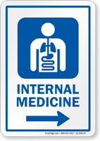 Internal Medicine Right Arrow Hospital Sign