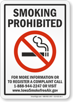 Iowa Smoking Prohibited Sign