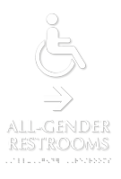 All Gender Restrooms Directional TactileTouch Braille Sign