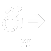 Exit Sign with Right Arrow, Updated Accessible Pictogram