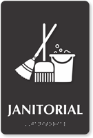 Janitorial TactileTouch Braille Sign