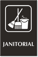 Janitorial Engraved Sign with Symbol