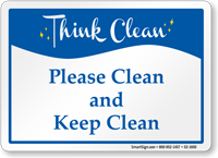 Please Clean And Keep Clean Sign