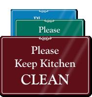 Keep Kitchen Clean Showcase Wall Sign