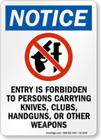 Knife And Gun Law Sign For Texas
