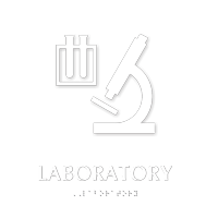 Laboratory TactileTouch Braille Sign with Microscope Room Symbol