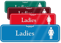 Ladies With Female Pictogram Restroom ShowCase Wall Sign