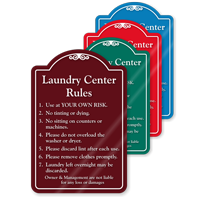 Laundry Center Rules ShowCase Sign