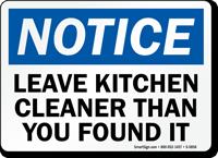 Leave Kitchen Cleaner OSHA Notice Sign