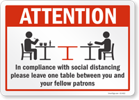 Leave One Table Between You And Your Fellow Patrons Sign