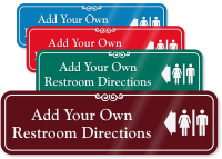 Directional Left Arrow Restroom Symbol Sign