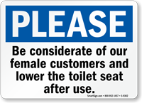 Lower the Toilet Seat After Use Restroom Sign