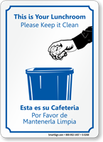 Bilingual Lunchroom Please Keep it Clean Sign