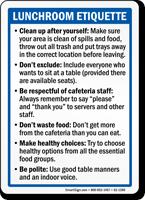 Lunchroom Etiquette Sign
