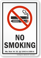Maine No Smoking Sign