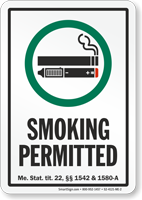 Maine Smoking Permitted Sign