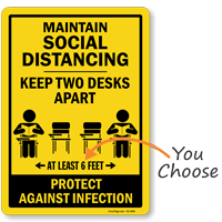 Maintain Social Distancing Keep 2 Desks Apart Floor Sign