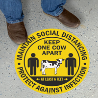 Maintain Social Distancing Keep One Cow Apart Floor Sign