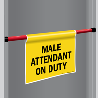 Male Attendant On Duty Door Barricade Sign