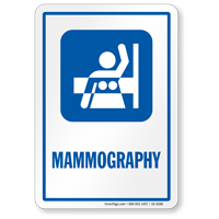 Mammography Hospital Sign with Breast Imaging Symbol