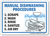Manual Dishwashing Scrape Wash Rinse Sanitize Dry Sign