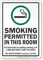 Maryland Smoking Permitted In This Room Sign