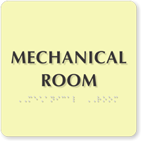 Mechanical Room Photoluminescent Glow Braille Sign