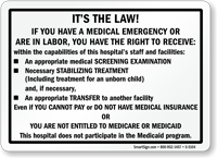 Medical Emergency Law, Right To Receive Screening Sign