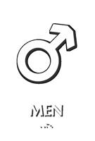Mars Men Braille Restroom Sign