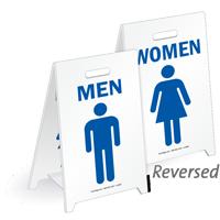 Men & Women W/Graphics Reversible Fold-Ups Floor Sign