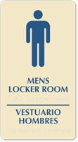 Bilingual Men's Locker Room Braille Sign
