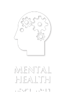 Mental Health Braille Sign with Head Gears Symbol