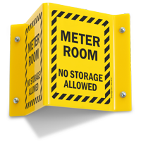 Meter Room No Storage Projecting Sign