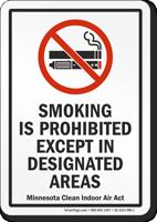 Minnesota Smoking Is Prohibited No Smoking Sign