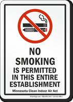 Minnesota No Smoking Is Permitted No Smoking Sign