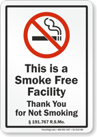 Missouri This Is A Smoke Free Facility No Smoking Sign