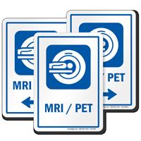 MRI/PET Sign with Magnetic Resonance Imaging Scanner Symbol