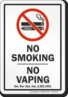 Nevada No Smoking No Vaping Sign