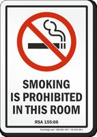 New Hampshire Smoking Is Prohibited No Smoking Sign