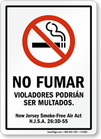 No Fumar Violadores Podrián Ser Multados Spanish Sign