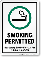 Smoking New Jersey Smoke-Free Air Act Sign